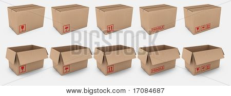 3d rendering of open and closed cardboard boxes with different warning labels