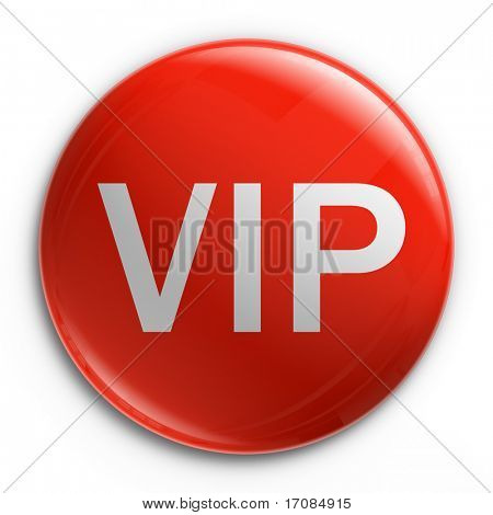 3d rendering of a badge with VIP written on it.