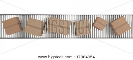 3d rendering of Cardboard boxes on a conveyor belt