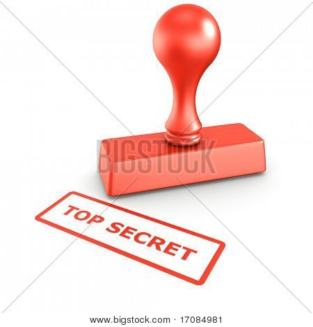 3d rendering of a rubber stamp with TOP SECRET in red ink
