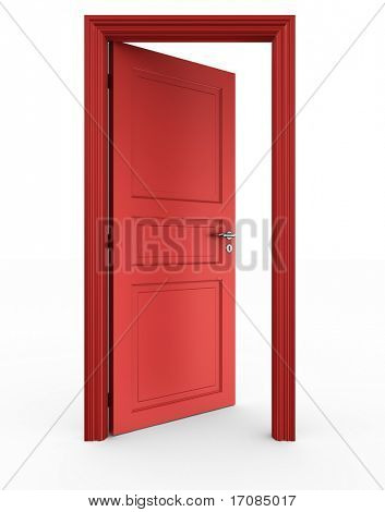 3d rendering of a red open door standing on a white floor