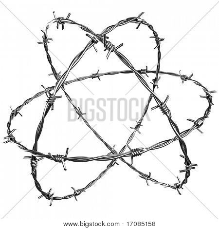 3d rendering of barbed wire, add something in the middle to create a strong concept