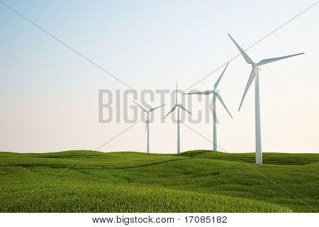 3d rendering of wind turbines on a green grass field