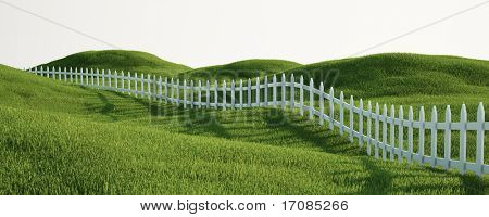 3d rendering of a grass field with a white picket fence