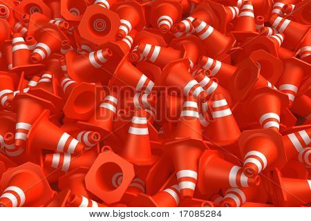 3d rendering of a traffic cone pile.