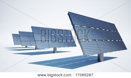 3d rendering of solar panels on a clean white background