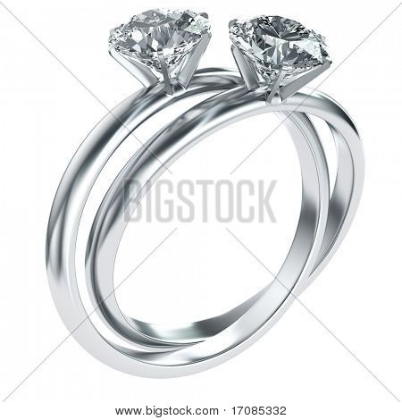 3d rendering of two diamond rings intertwined