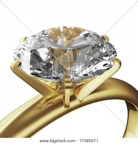 3d rendering of a gold diamond ring