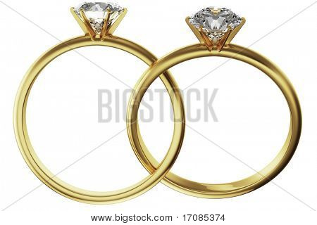 3d rendering of two gold diamond rings intertwined