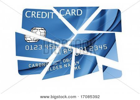 3d rendering of a credit card cut into pieces