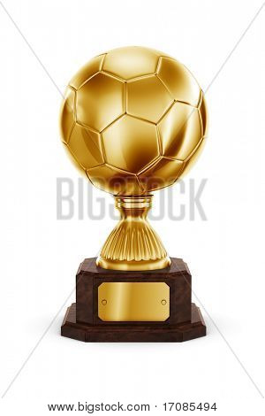 3d rendering of a football trophy in gold