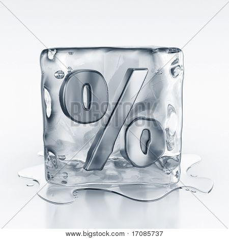 3d rendering of an icecube with a percentage symbol inside