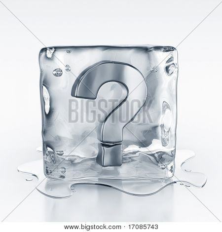 3d rendering of an icecube with a question mark symbol inside