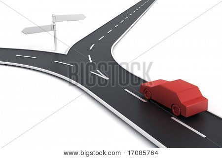 3d rendering of a car at a road splitting up