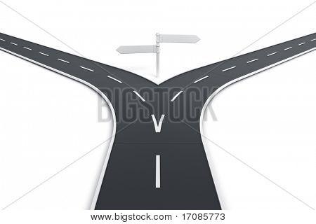 representación 3D de un camino con indicaciones en blanco