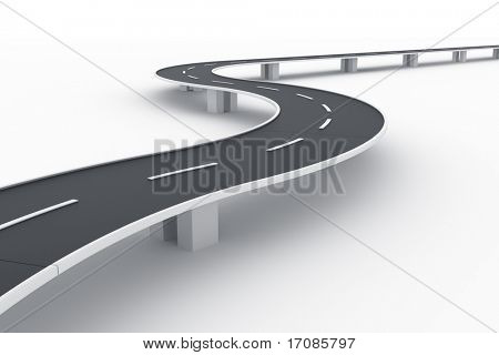 3d rendering of a curved road bridge
