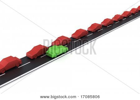 3d rendering of a traffic jam in one side of the road and space on the other lane