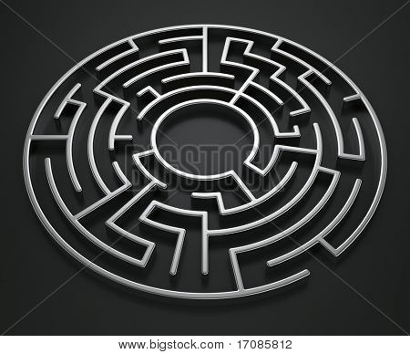3d rendering of a circular maze on a dark background
