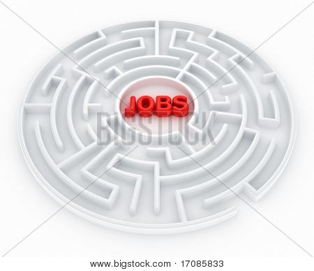 3d rendering of a maze with jobs written to symbolize searching for a job