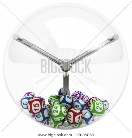 3d rendering of lottery machine with balls