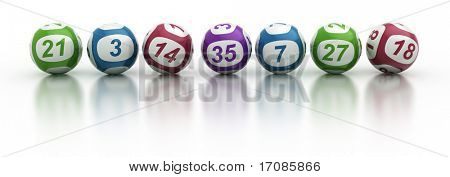 3d rendering of lottery balls on a white reflective table