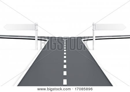 3d rendering of a road splitting with road blank signs