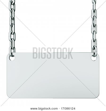 3d rendering of a blank sign suspended by chains