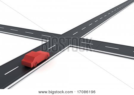 3d rendering of a car in a road intersection