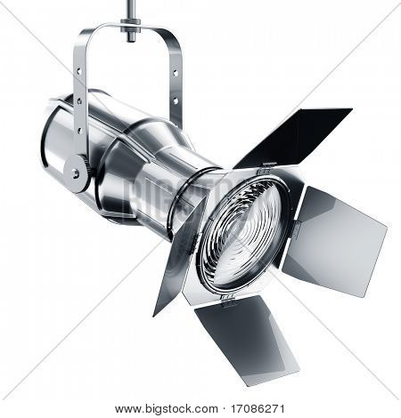 3d rendering of a chrome spotlight on a white background