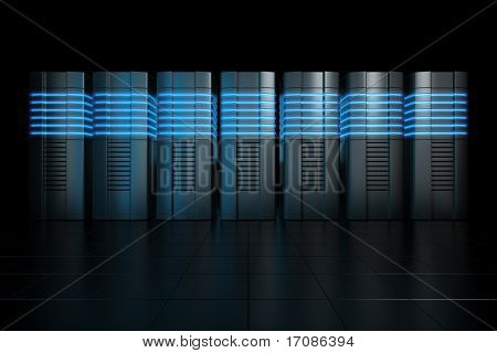 3d rendering of futuristic servers