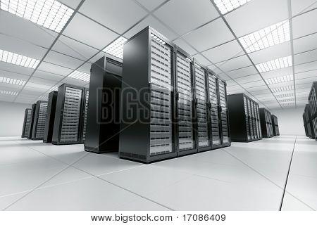 3D-Rendering von einem Serverraum mit schwarz-Servern