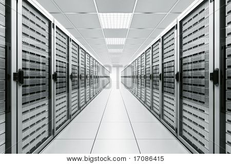 3D-Rendering von einem Serverraum mit weiß-Servern