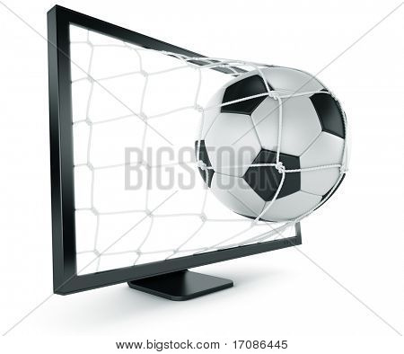 3d rendering of a soccer ball coming out of a monitor