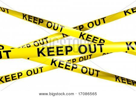 3d rendering of caution tape with KEEP OUT written on it