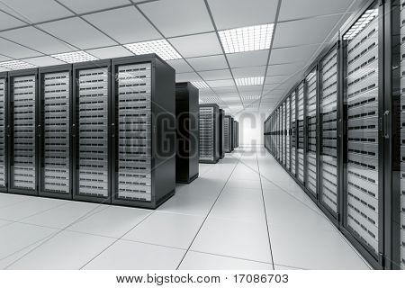 renderização 3D de uma sala de servidor com servidores pretos