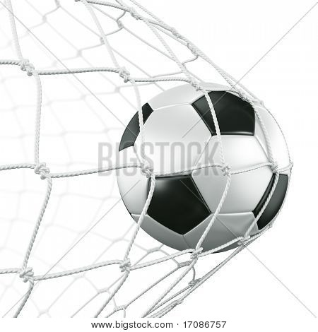 3d rendering of a soccer ball in a net