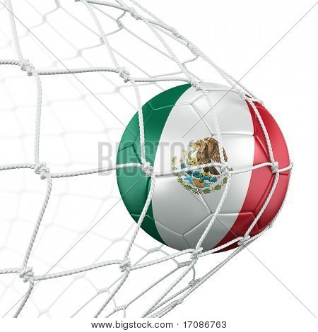 3d rendering of a Mexican soccer ball in a net