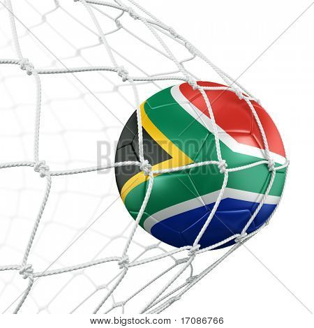 3d rendering of a South African soccer ball in a net