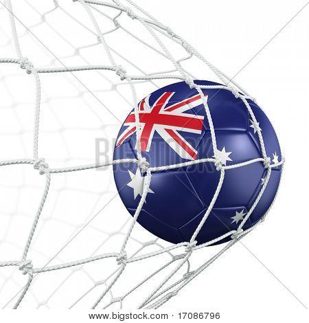 3d rendering of a Australian soccer ball in a net