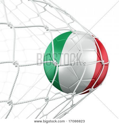 3D-Rendering von einem italienischen Fußball im Netz