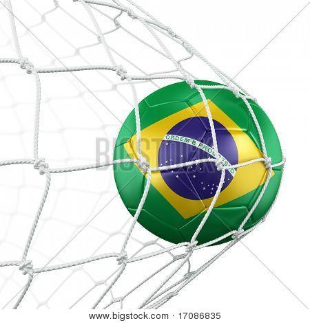 3d rendering of a Brazilian soccer ball in a net