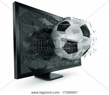 3D Darstellung einer Schweizer Soccerball durchbrechen monitor