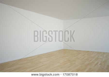 3d rendering of a corner in an empty room
