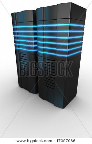3d rendering of futuristic servers on a white background