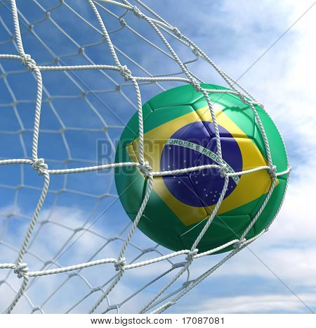 3d rendering of a Brazilian soccer ball in a net