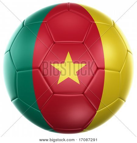 3d rendering of a Cameroonian soccer ball isolated on a white background