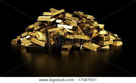 3d rendering of a pile of gold bars