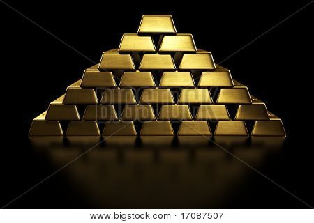 3d rendering of gold bars stacked in a pyramid shape