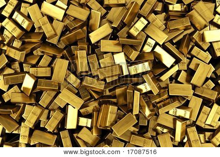 3d rendering of scattered gold bars