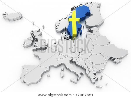 3d rendering of a map of Europe with Sweden selected